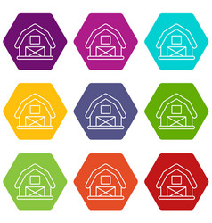 horse barn icons set 9 vector image