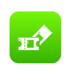 Ice hockey ticket icon green vector