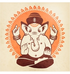 Indian god Ganesha on a beige background vector image