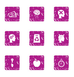 Inspiration icons set grunge style vector