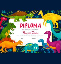 Kids diploma with dinosaurs template vector