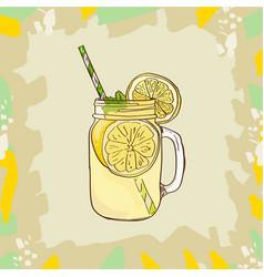 lemonade in mason jar mug with drinking straw and vector image