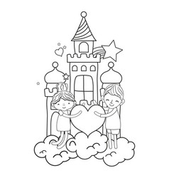 Line boy and girl with heart in the castle clouds vector