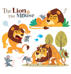 Lion and mouse vector