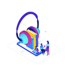 Listening to audiobooks - modern colorful vector