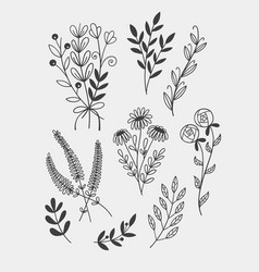 Little branches and florals for tiny tattoo hand vector
