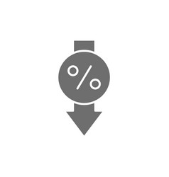 Loan interest rate reduction grey icon vector