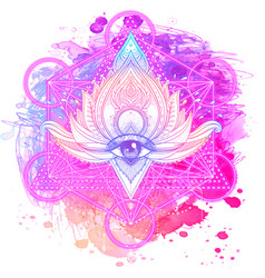 Lotus inspired ornate composition over colorful vector