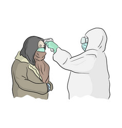 Medical worker in ppe suit scanning woman with vector