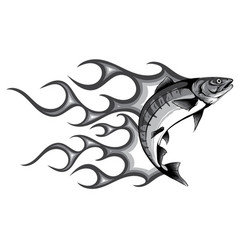 monochromatic abstract burning fish vector image