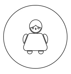 old woman icon black color in circle vector image