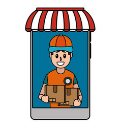 online delivery cartoon vector image