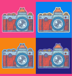 Photo camera pop art style andy warhol style vector