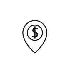 pin pointer dollar icon vector image