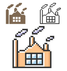 pixel icon plant in three variants fully vector image