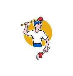 Plumber Wielding Wrench Plunger Cartoon vector
