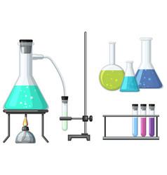 Science beakers with burner vector