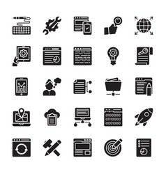 seo and web optimization glyph icons 4 vector image