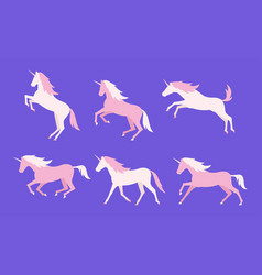 set of colorful unicorns vector image