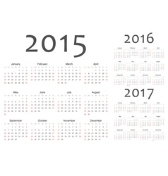 Set of european year calendars vector image vector image