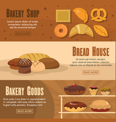 set of three horizontal bakery shop banners with vector image