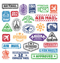 set of vintage postage mail stamps vector image