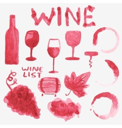 Set of watercolor wine stuff on the white vector