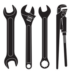 set of wrenches collection of black icons vector image