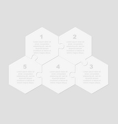 seven pieces puzzle hexagon jigsaw info graphic vector image