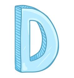 Single cartoon - ice blue letter d vector