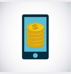 Smartphone and gold coins vector