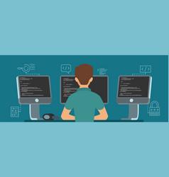 Software developer character programmer vector