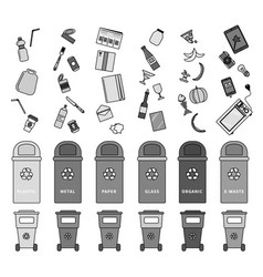 sorting garbage on white line monochrome vector image