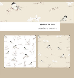 spring seamless pattern with hand drawn little tit vector image