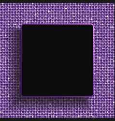 square frame purple sequins glitter sparkle dot vector image