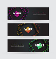 template of a black banner with square vector image
