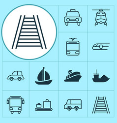 Transportation icons set collection of college vector