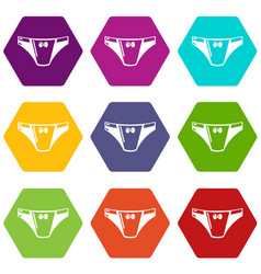 underpants girl icons set 9 vector image