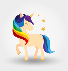 unicorn icon rainbow mane vector image