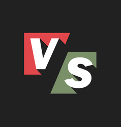 vs letters or versus logo sign isolated on black vector image
