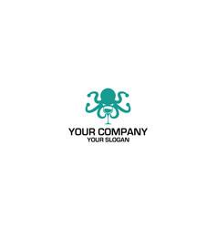 Wine octopus logo design vector