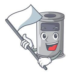 With flag cartoon steel trash can in the office vector