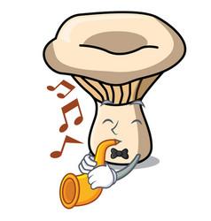 with trumpet milk mushroom mascot cartoon vector image