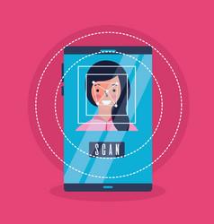 woman face scan process gadget vector image
