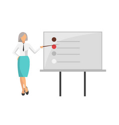 Woman giving information on vector