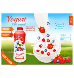 Yogurt with berries in bottle fruits and milk vector