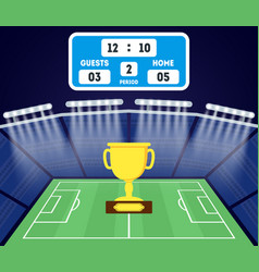 Cartoon football field with a golden cup vector