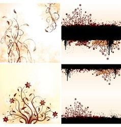 Grunge floral backgrounds vector image vector image