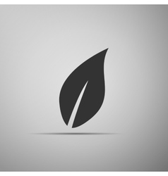 Leaf icon on grey background Adobe vector image vector image