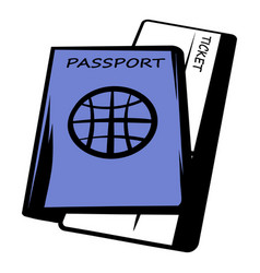 passport with tickets icon cartoon vector image